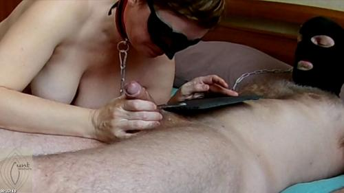 Submissive MILF slave licks her master's feet and nipples and jerks off | Mature Cunt