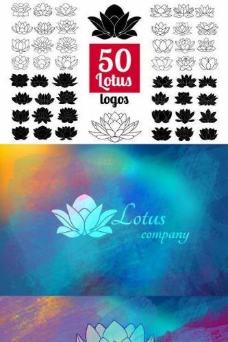 50 Lotus Flowers Logo Bundle