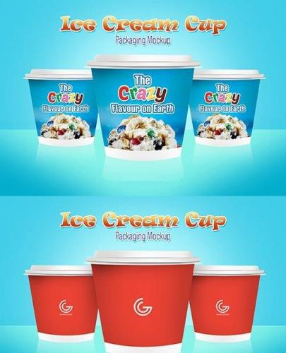PSD Mock-Up - Ice Cream Cup Packaging