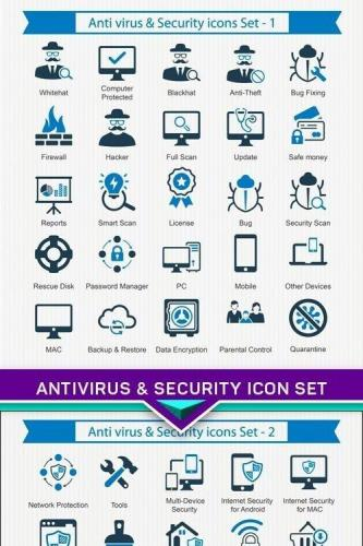 Antivirus & Security icon Set 4X EPS