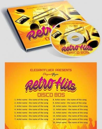 Retro Hits CD Cover PSD Template