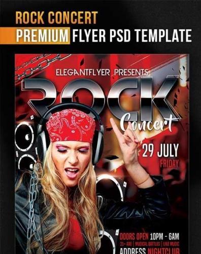 Rock Concert Flyer PSD Template