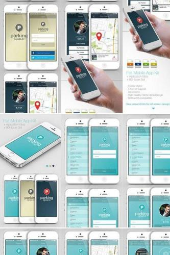 Flat Mobile App Kit App Idea