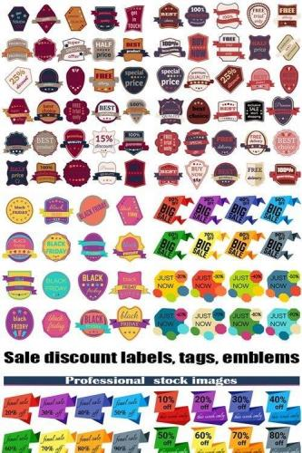 Set of sale discount labels, tags, emblems