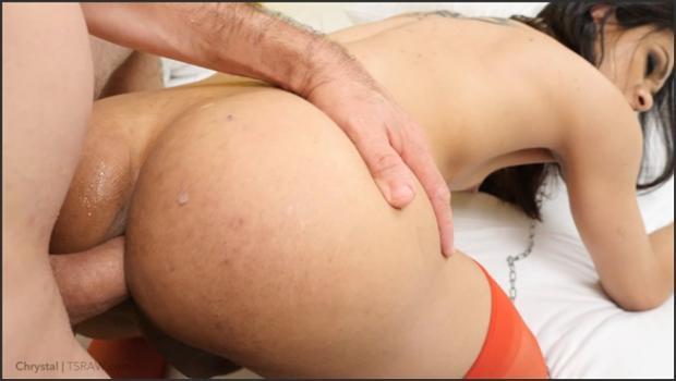ladyboygold.com- Waxed Rear, Ball Gag Bareback Creampie 4k