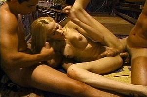 Awesomeinterracial.com- Coed Transsexual Takes Two Big Cocks
