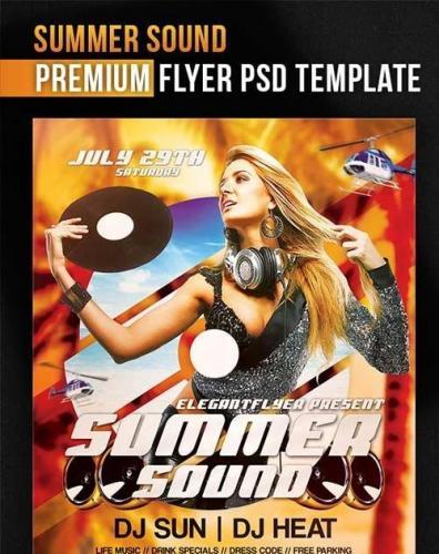 Summer Sound Flyer PSD Template