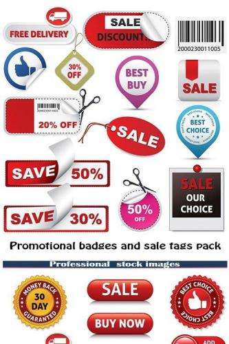 Promotional badges and sale tags pack