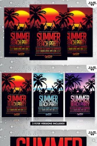 3in1 SUMMER BEACH Flyer Template 249176