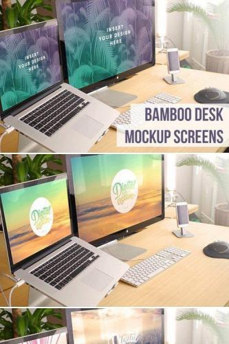 Bamboo Desk Dual Screens