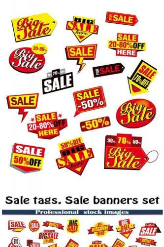 Sale tags. Sale banners set